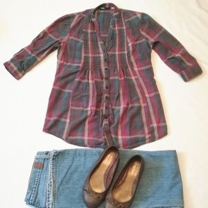 Urban Outfitters BDG Plaid Pleated Button Down Top